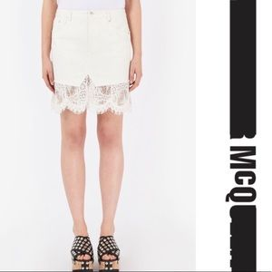 NWT Alexander McQueen McQ White Denim/Lace Skirt